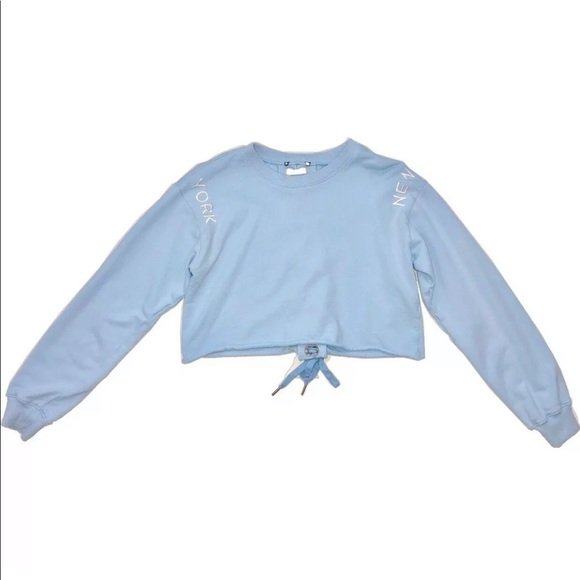Forever 21 Tops - Forever 21 Blue Lace-Up Crop Sweater